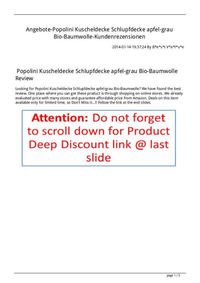Angebote-Popolini Kuscheldecke Schlupfdecke apfel-grau Bio-Baumwolle-Kundenrezensionen 2014-01-14 19:37:24 By B*e*s*t V*a*...