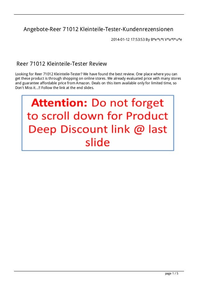 Angebote-Reer 71012 Kleinteile-Tester-Kundenrezensionen 2014-01-12 17:53:53 By B*e*s*t V*a*l*u*e  Reer 71012 Kleinteile-Te...