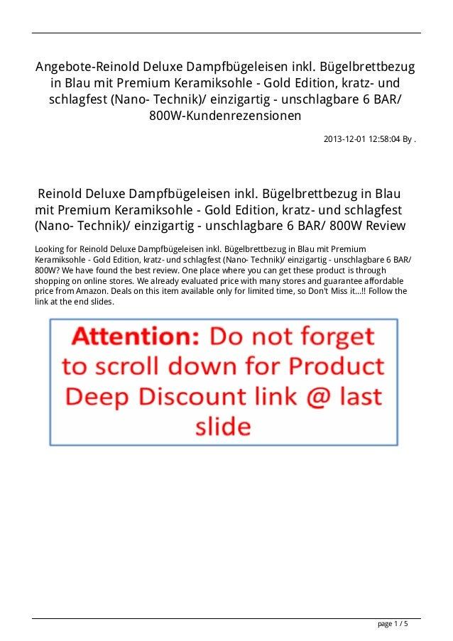 Angebote-Reinold Deluxe Dampfbügeleisen inkl. Bügelbrettbezug in Blau mit Premium Keramiksohle - Gold Edition, kratz- und ...