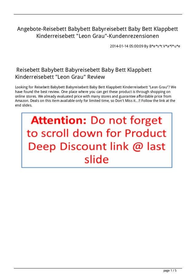 """Angebote-Reisebett Babybett Babyreisebett Baby Bett Klappbett Kinderreisebett """"Leon Grau""""-Kundenrezensionen 2014-01-14 05:..."""
