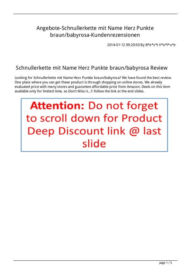 Angebote-Schnullerkette mit Name Herz Punkte braun/babyrosa-Kundenrezensionen 2014-01-12 09:20:50 By B*e*s*t V*a*l*u*e  Sc...