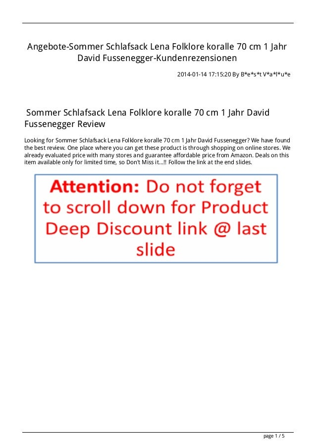 Angebote-Sommer Schlafsack Lena Folklore koralle 70 cm 1 Jahr David Fussenegger-Kundenrezensionen 2014-01-14 17:15:20 By B...