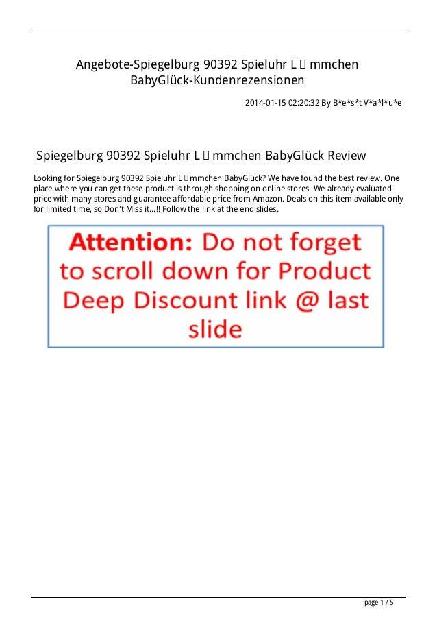 Angebote-Spiegelburg 90392 Spieluhr Lämmchen BabyGlück-Kundenrezensionen 2014-01-15 02:20:32 By B*e*s*t V*a*l*u*e  Spiegel...