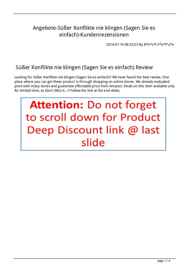 Angebote-Süßer Konflikte nie klingen (Sagen Sie es einfach)-Kundenrezensionen 2014-01-14 04:33:23 By B*e*s*t V*a*l*u*e  Sü...