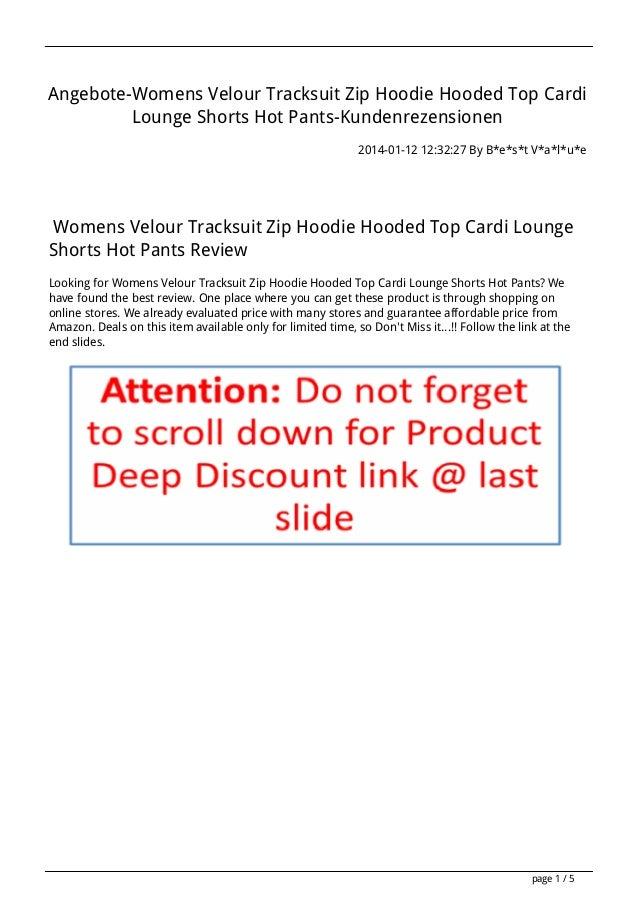 Angebote-Womens Velour Tracksuit Zip Hoodie Hooded Top Cardi Lounge Shorts Hot Pants-Kundenrezensionen 2014-01-12 12:32:27...