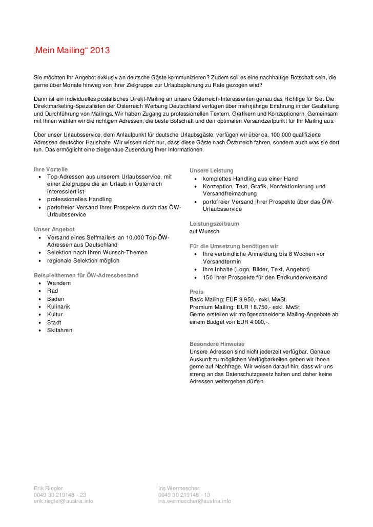 Angebot exklusiv mailing_2013 Slide 2