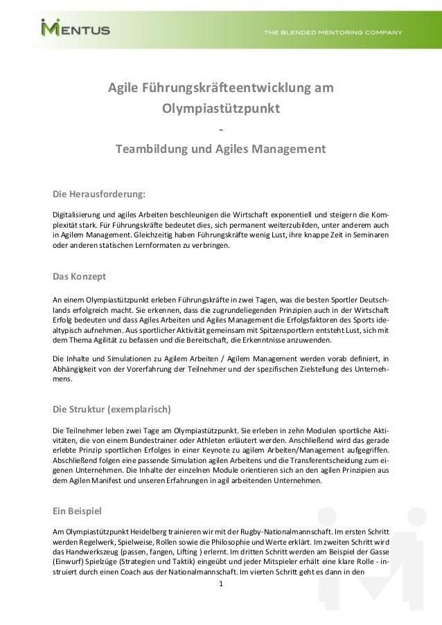 1 Agile Führungskräfteentwicklung am Olympiastützpunkt - Teambildung und Agiles Management Die Herausforderung: Digitalisi...