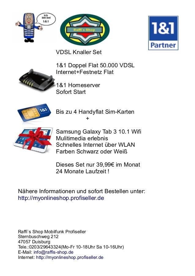 VDSL Knaller Set 1&1 Doppel Flat 50.000 VDSL Internet+Festnetz Flat 1&1 Homeserver Sofort Start Bis zu 4 Handyflat Sim-Kar...