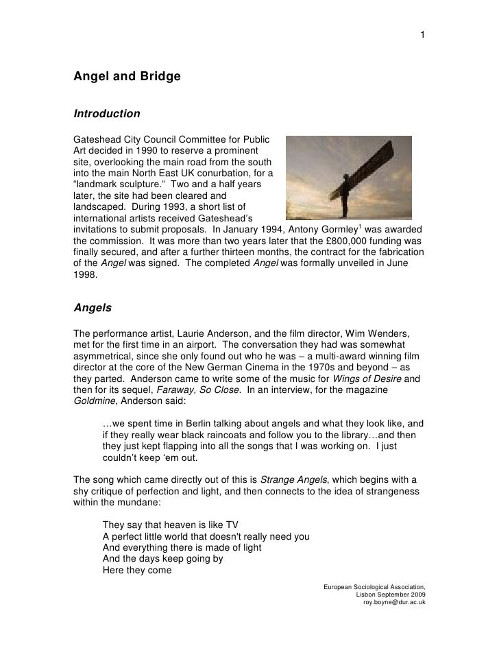 Angel and Bridge<br />Introduction<br />331152534925Gateshead City Council Committee for Public Art decided in 1990 to res...