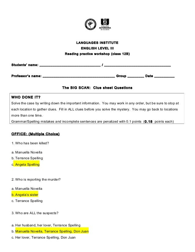 Angela Spelling Mystery Worksheet