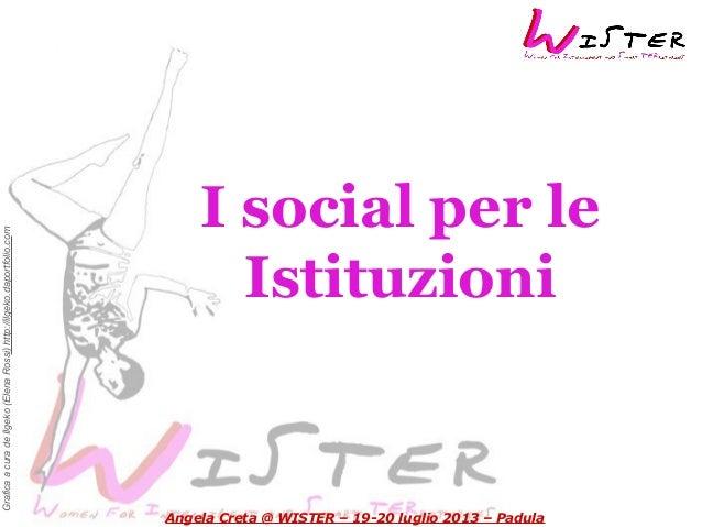GraficaacuradeIlgeko(ElenaRossi)http://ilgeko.daportfolio.com I social per le Istituzioni Angela Creta @ WISTER – 19-20 lu...