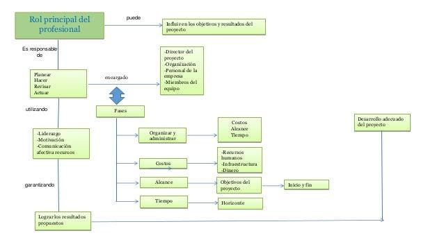 Rol principal del profesional encargado Planear Hacer Revisar Actuar Organizar y administrar Es responsable de Fases -Recu...