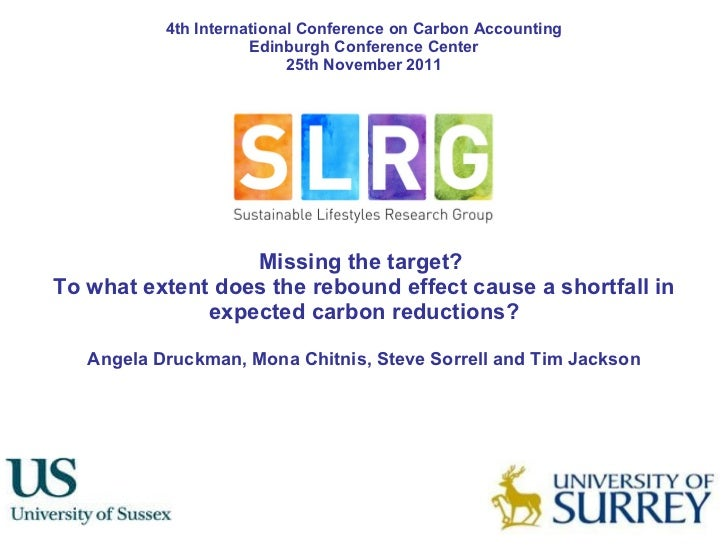 Missing the target?  To what extent does the rebound effect cause a shortfall in expected carbon reductions? Angela Druckm...