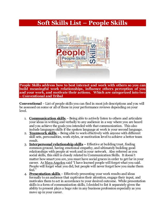 Soft Skills List U2013 People Skills People Skills Address How To Best Interact  And Work With ...  Soft Skills List