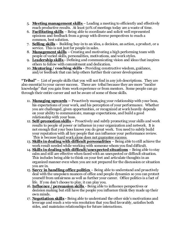 Soft skills list -People skills(Culled from the internet)