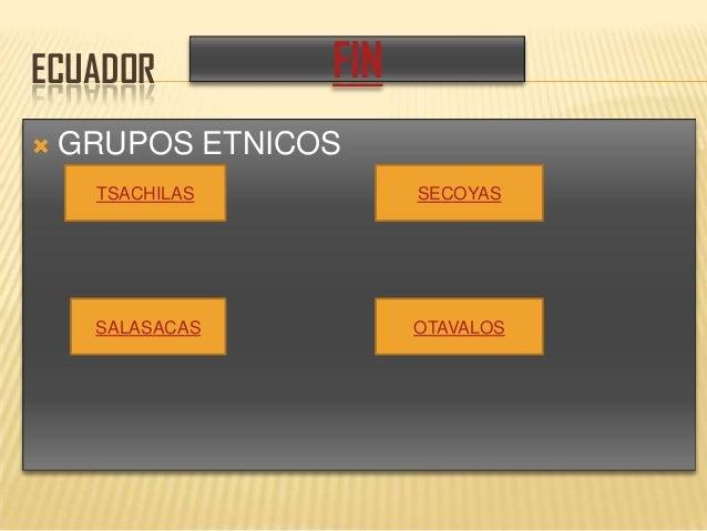 ECUADOR  GRUPOS ETNICOS TSACHILAS SALASACAS OTAVALOS SECOYAS FIN
