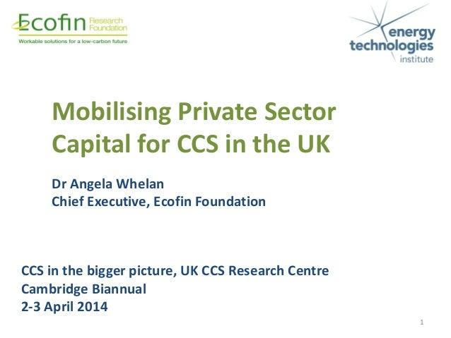 CCS in the bigger picture, UK CCS Research Centre Cambridge Biannual 2-3 April 2014 Dr Angela Whelan Chief Executive, Ecof...