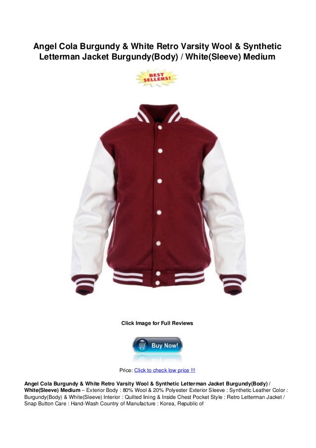 Angel Cola Burgundy & White Retro Varsity Wool & SyntheticLetterman Jacket Burgundy(Body) / White(Sleeve) MediumClick Imag...
