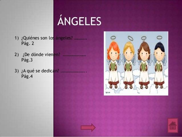 ÁNGELES 1) ¿Quiénes son los ángeles? ……….. Pág. 2 2) ¿De dónde vienen? ………………… Pág.3 3) ¿A qué se dedican? ………………….. Pág.4