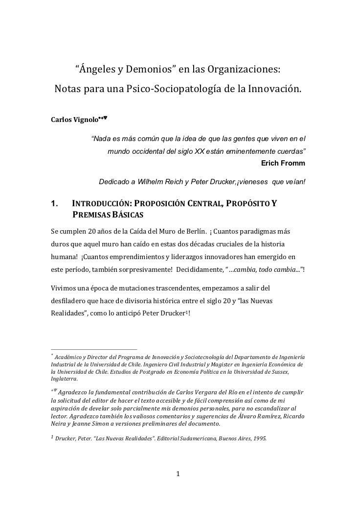 """""""ÁngelesyDemonios""""enlasOrganizaciones:    NotasparaunaPsico‐SociopatologíadelaInnovación.CarlosV..."""
