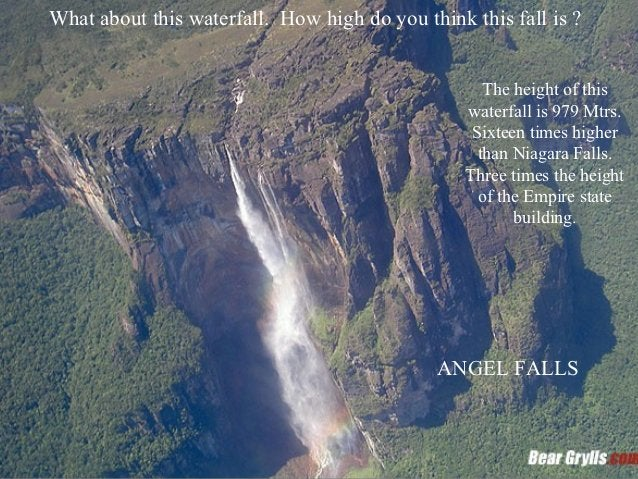 What about this waterfall. How high do you think this fall is ?                                                    The hei...