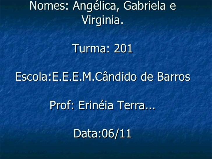 Nomes: Angélica, Gabriela e Virginia. Turma: 201 Escola:E.E.E.M.Cândido de Barros Prof: Erinéia Terra... Data:06/11