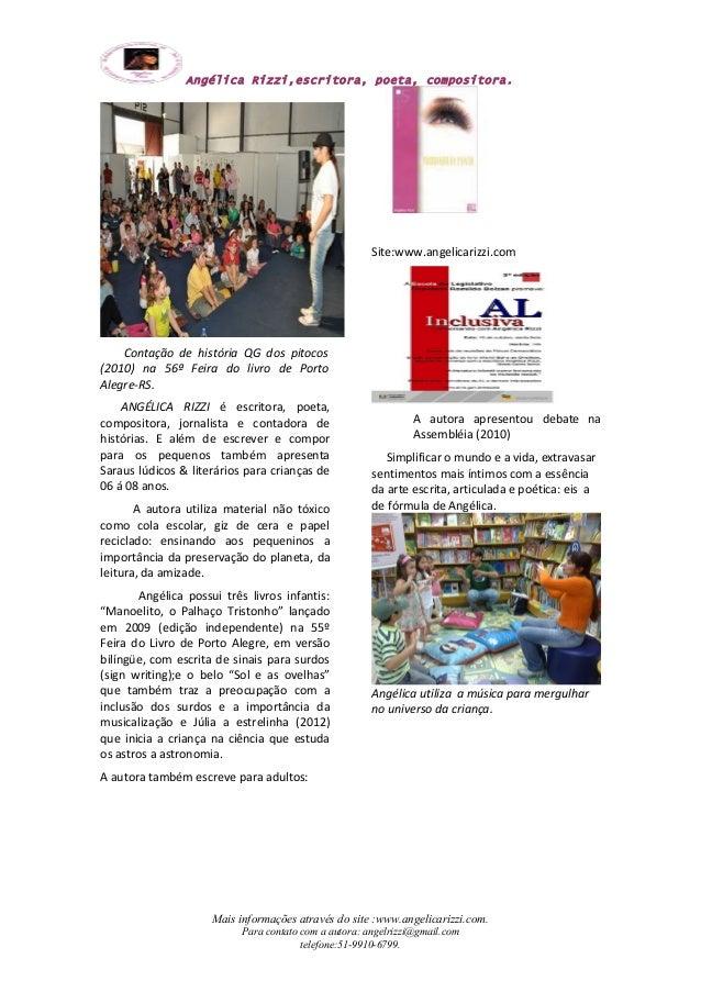 Angélica Rizzi,escritora, poeta, compositora.  Contação de história QG dos pitocos  (2010) na 56ª Feira do livro de Porto ...