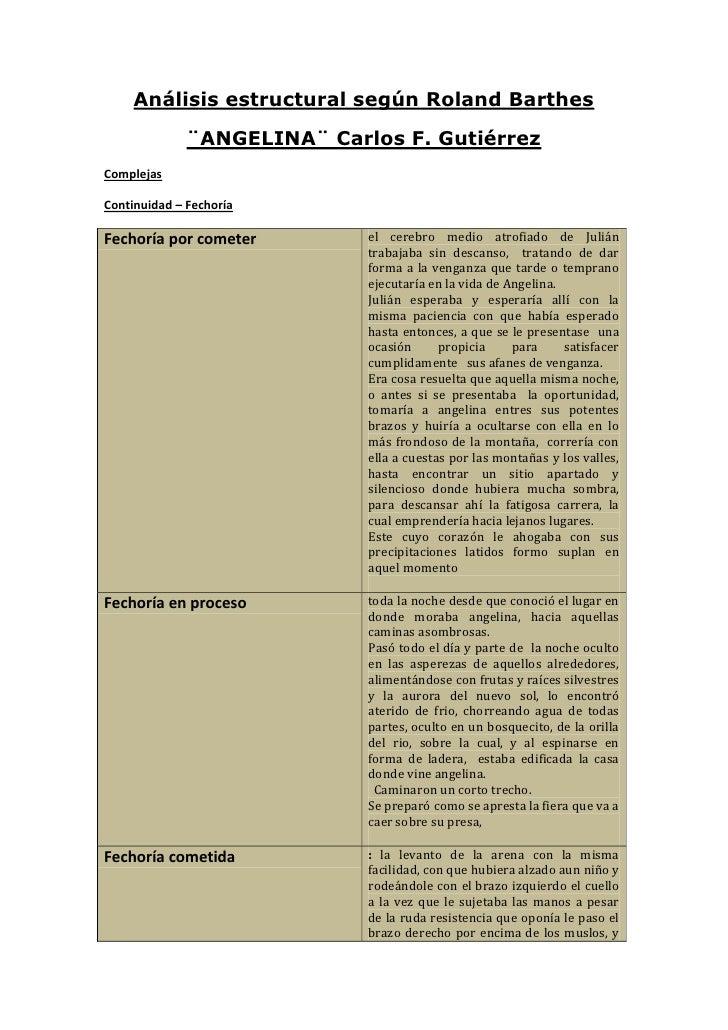 Análisis estructural según Roland Barthes<br />¨ANGELINA¨ Carlos F. Gutiérrez<br />Complejas<br />Continuidad – Fechoría<b...