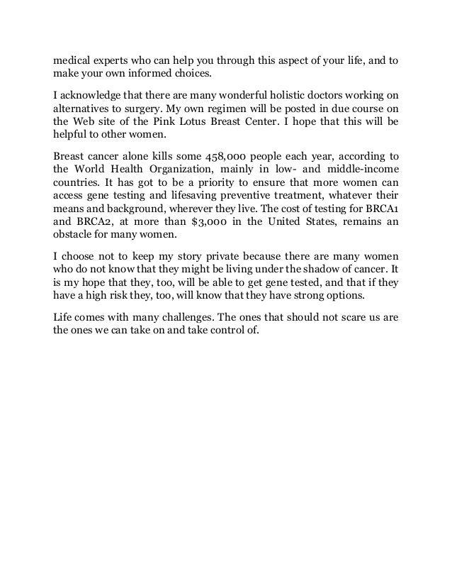 my medical choice essay by angelina jolie 3 medical