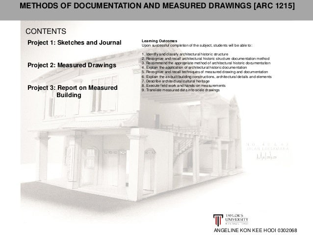CONTENTS  ANGELINE KON KEE HOOI 0302068  Project 1: Sketches and Journal  Project 2: Measured Drawings  Project 3: Report ...