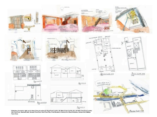Sketches: from left to right; up to down: Door at Lot No.42, Shop Front (Lot No. 40), Main Court (Lot No. 42), Air Well, F...