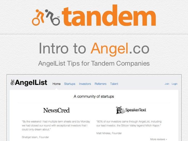 Intro to Angel.coAngelList Tips for Tandem Companies