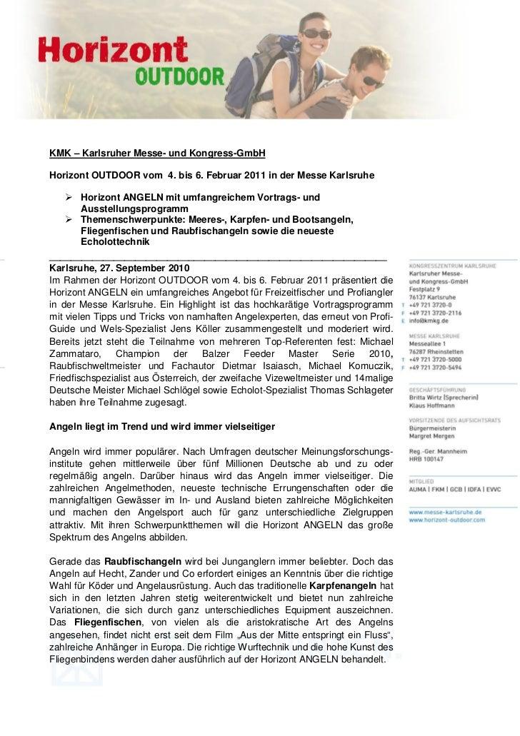 KMK – Karlsruher Messe- und Kongress-GmbHHorizont OUTDOOR vom 4. bis 6. Februar 2011 in der Messe Karlsruhe        Horizon...