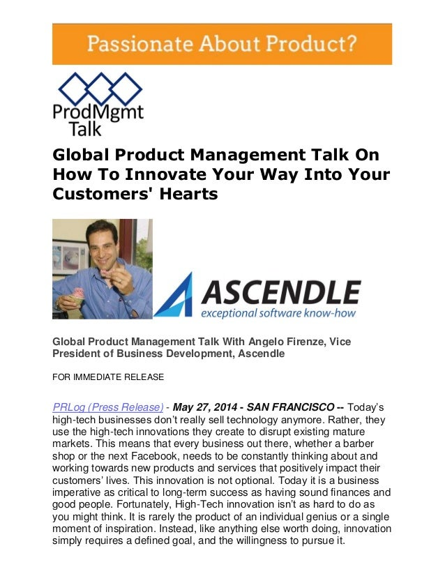 Global Product Management Talk On How To Innovate Your Way Into Your Customers' Hearts Global Product Management Talk With...