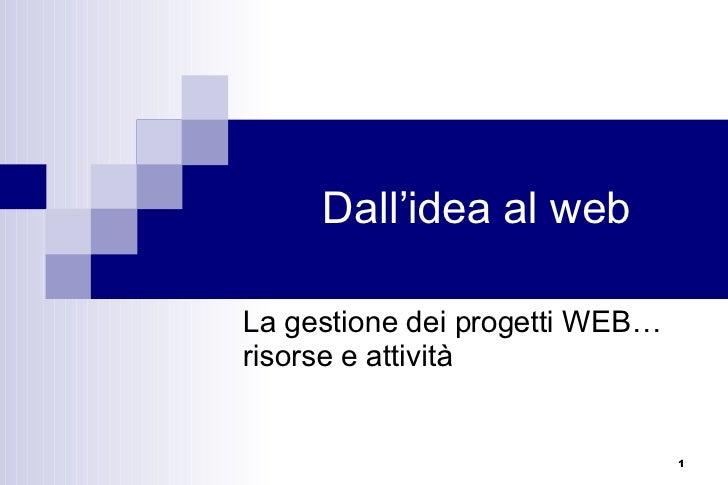 Dall'idea al web La gestione dei progetti WEB… risorse e attività