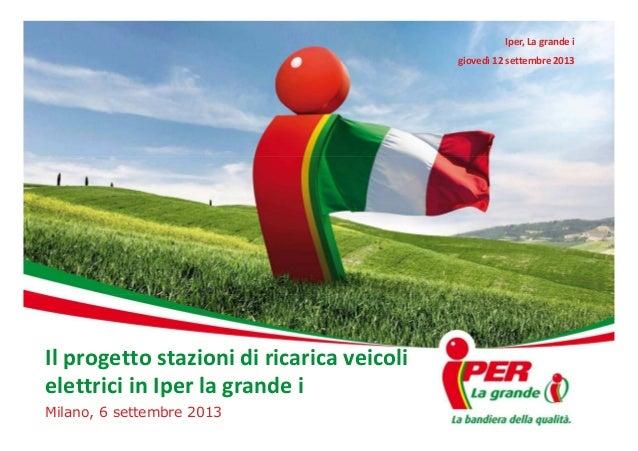 Iper, La grande i giovedì 12 settembre 2013  Il progetto stazioni di ricarica veicoli elettrici in Iper la grande i Milano...