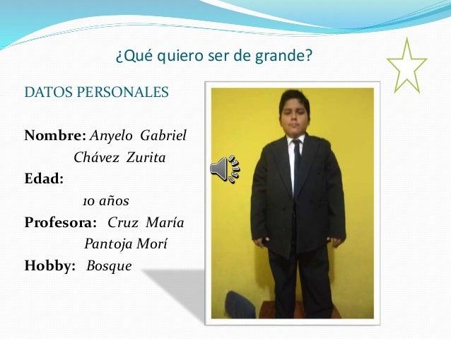 ¿Qué quiero ser de grande? DATOS PERSONALES Nombre: Anyelo Gabriel Chávez Zurita Edad: 10 años Profesora: Cruz María Panto...