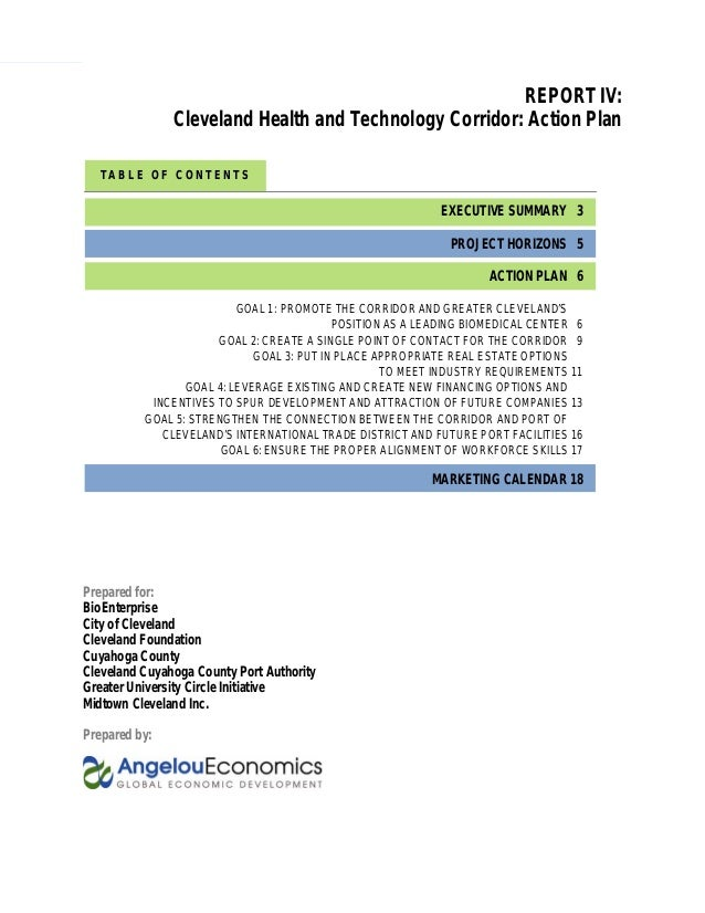 1 Cleveland Health and Technology Corridor Action Plan T A B L E O F C O N T E N T S REPORT IV: Cleveland Health and Techn...