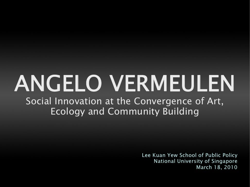 ANGELO VERMEULEN Social Innovation at the Convergence of Art,       Ecology and Community Building                        ...