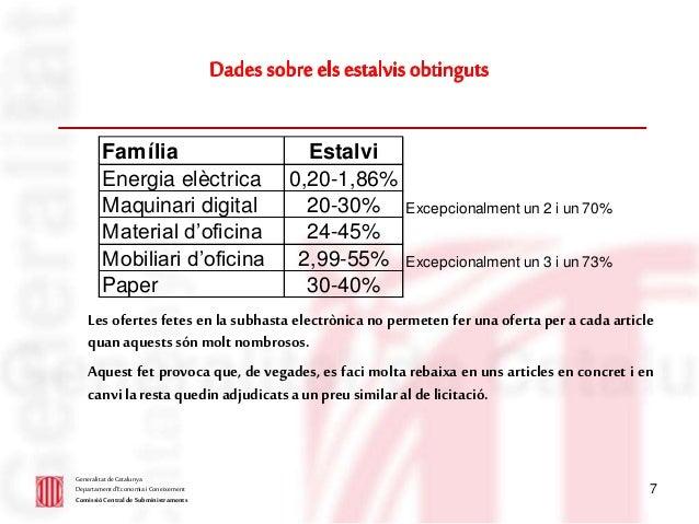 7 GeneralitatdeCatalunya Departament d'Economia i Coneixement ComissióCentral de Subministraments Les ofertes fetes en la ...