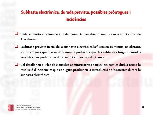 8  Cada subhasta electrònica s'ha de parametritzar d'acord amb les necessitats de cada Acordmarc.  La durada prevista in...
