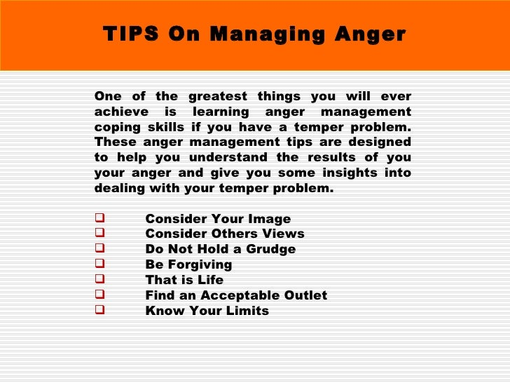 TIPS On Managing Anger ...