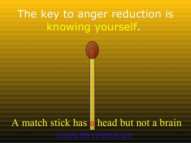 A match stick has a head but not a brain ANGER PREVENTION KIT3 Jan 2002 1of 28 The key to anger reduction is knowing yours...