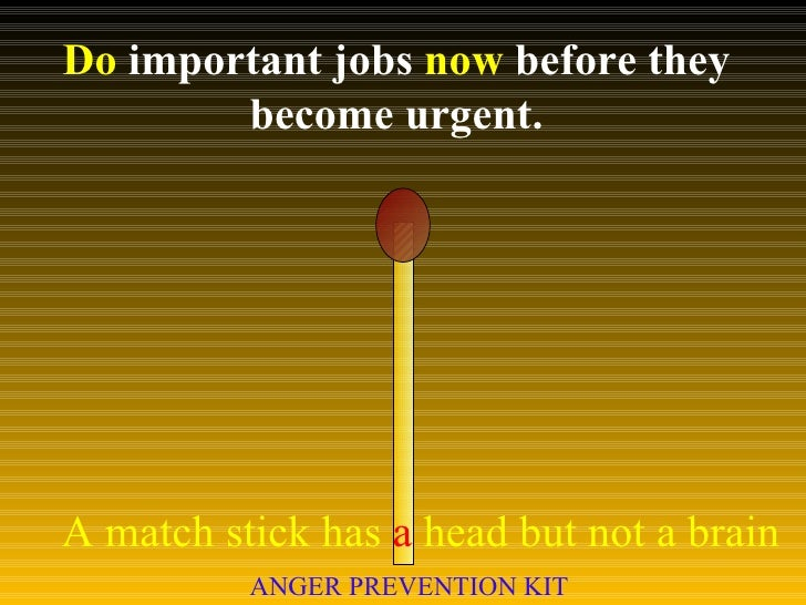 Do  important jobs  now  before they become urgent. A match stick has  a  head but not a brain ANGER PREVENTION KIT