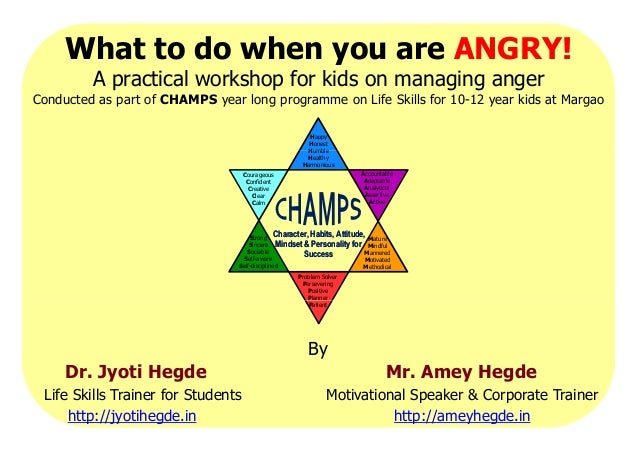 What to do when you are ANGRY! A practical workshop for kids on managing anger Conducted as part of CHAMPS year long progr...