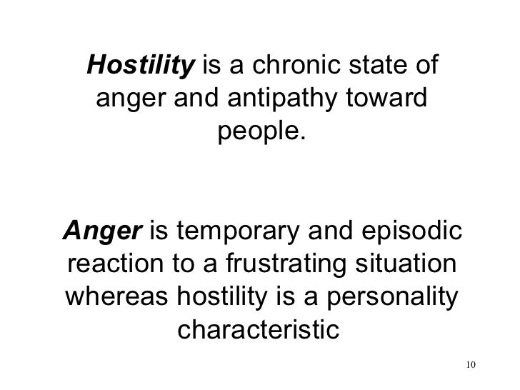 Hostility  is a chronic state of anger and antipathy toward people. Anger  is temporary and episodic reaction to a frustra...