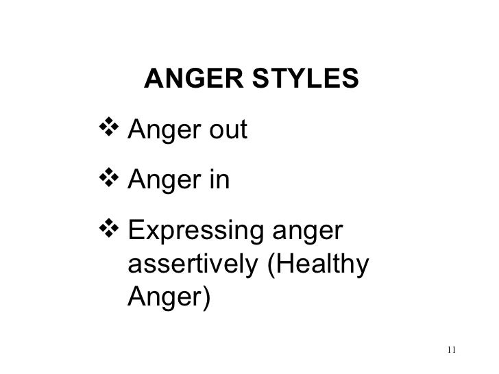 <ul><li>ANGER STYLES  </li></ul><ul><li>Anger out  </li></ul><ul><li>Anger in </li></ul><ul><li>Expressing anger assertive...