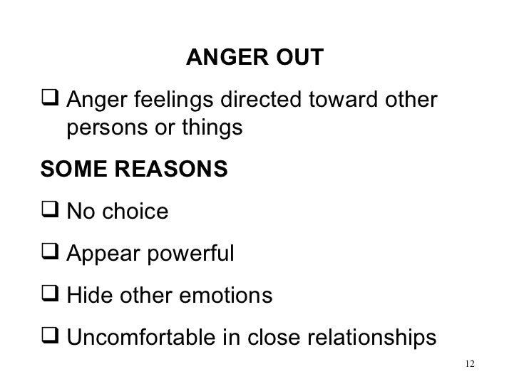 <ul><li>ANGER OUT </li></ul><ul><li>Anger feelings directed toward other persons or things  </li></ul><ul><li>SOME REASONS...