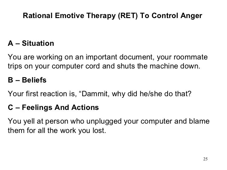 Rational Emotive Therapy (RET) To Control Anger A – Situation You are working on an important document, your roommate trip...