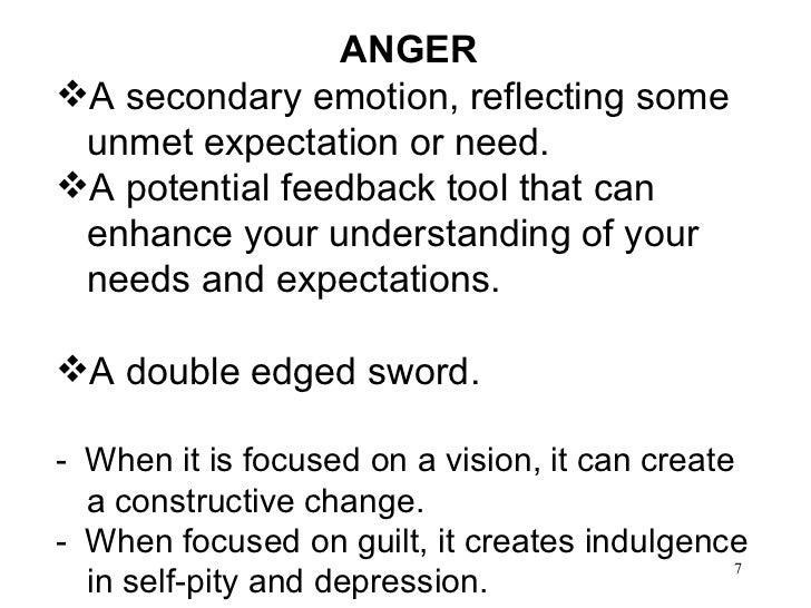 <ul><li>ANGER </li></ul><ul><li>A secondary emotion, reflecting some unmet expectation or need. </li></ul><ul><li>A potent...